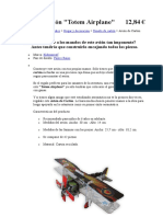 Avión de Cartón Totem airplane molde