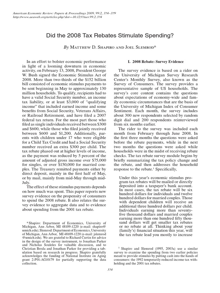 Shapiro And Slemrod 2009 AER Did The 2008 Tax Rebates Stimulate Spending