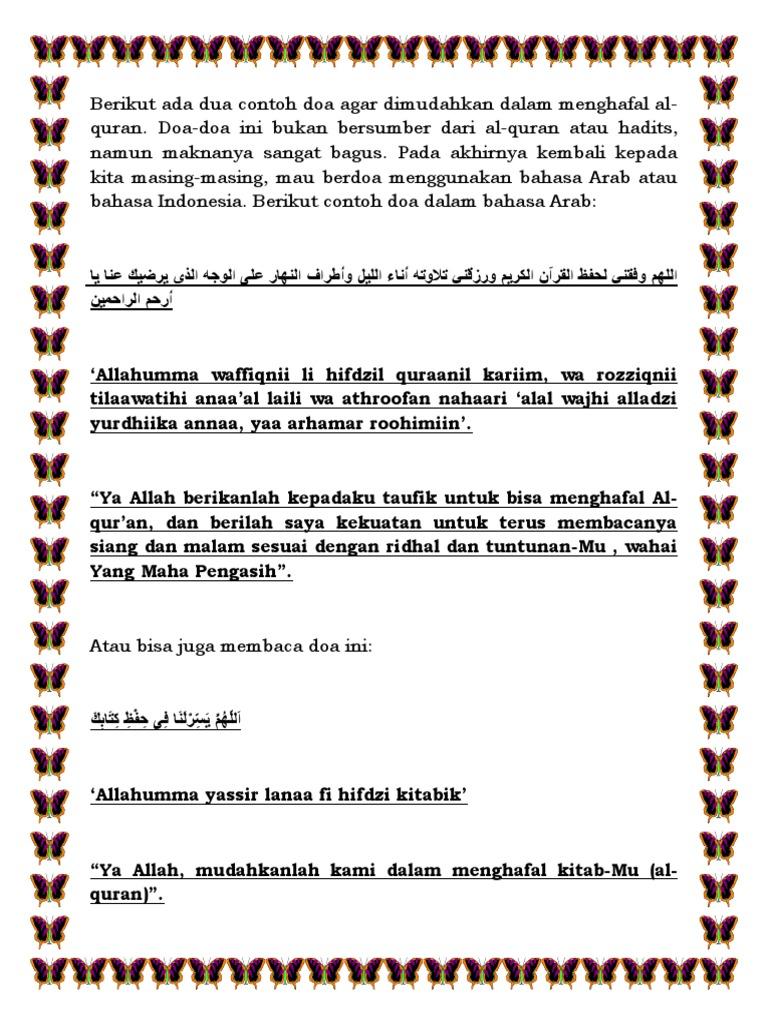 Doa Agar Dimudahkan Dalam Menghafal Al Quran