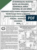 HOJITA EVANGELIO NIÑOS DOMINGO XXVIII TO B 18 BN
