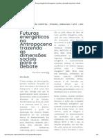"""__Artigo - Camelo - """"Futuros energéticos no Antropoceno"""" (2018)"""