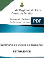 ESTABILIDADE - DIREITO DO TRABALHO