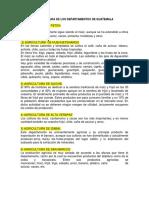 Agricultura de Los Departamentos de Guatemala