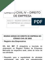 Aula 3 - Regras Gerais Do Direito de Empresa