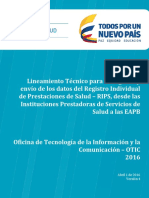 RIPS Lineamientos Tecnicos Para IPS Abril 2016