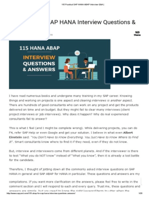 115 Practical SAP HANA ABAP Interview Q&A | Sql | Databases