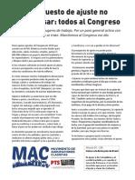 Declaración del MAC por votación del Presupuesto