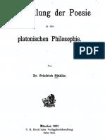 +++Die Stellung der Poesie in der platonischen Philosophie -- Friedrich Stählin