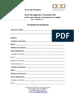 Inscripción Jornada Investigación y Extensión