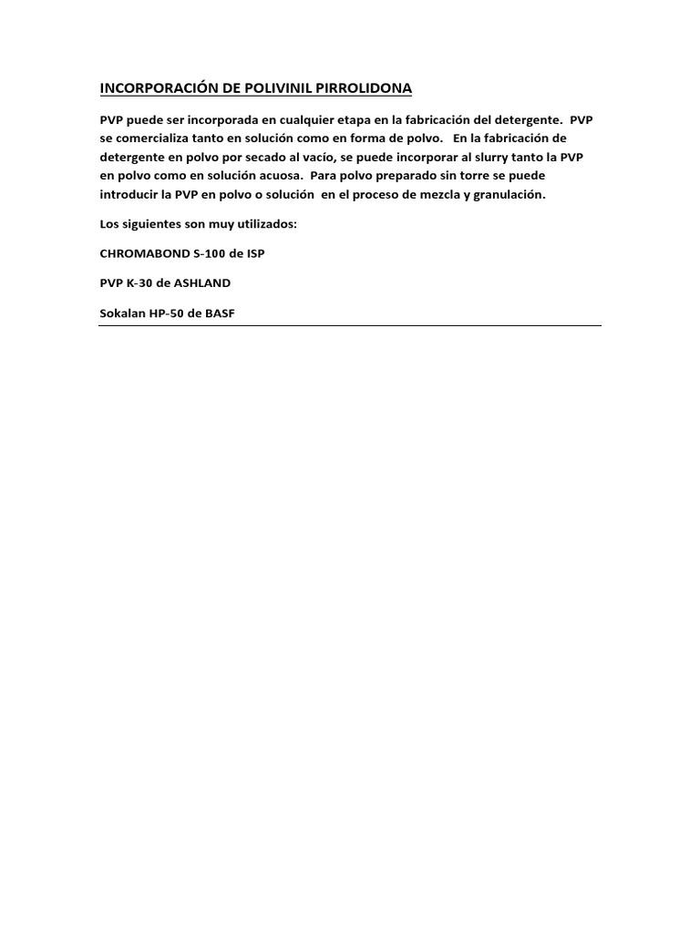 Incorporación de Pvp en Detergentes en Polvo