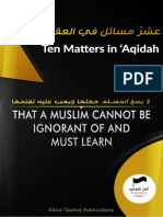 Ten Matters in 'Aqidah That a Muslim Cannot Be Ignorant of - Ahlut-Tawid Publications