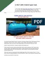 TERJAMIN! 0812-9627-2689 | Pabrik Septic Tank Biotech
