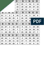BINGO Numbers 1-40