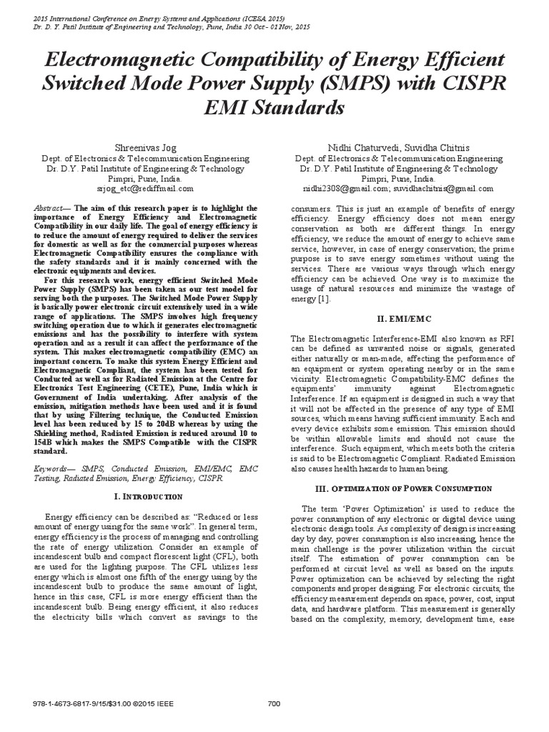 Electromagnetic Compatibility of Energy Efficient Switched