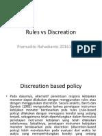 Moneter Rules vs Discreation