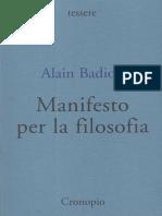 Alain Badiou - Manifesto Per La Filosofia (2008, Cronopio)