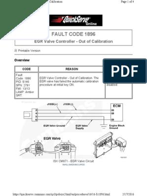 Cummins - ISX 450 EGR Valve Fault Code 1896 pdf | Valve | Calibration