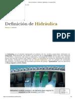 Qué Es Hidráulica - Definición, Significado y Concepto 2018