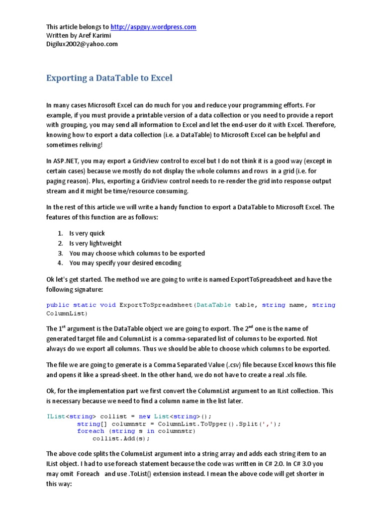 Exporting A Datatable To Excel: Public Static Void String String