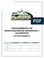 AC-PRO-SSOMA -01 Procedimiento de Investigación de Incidentes y Accidentes