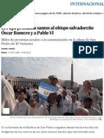 El Papa Proclama Santos Al Obispo Salvadoreño Óscar Romero y a Pablo VI _ Internacional _ EL PAÍS