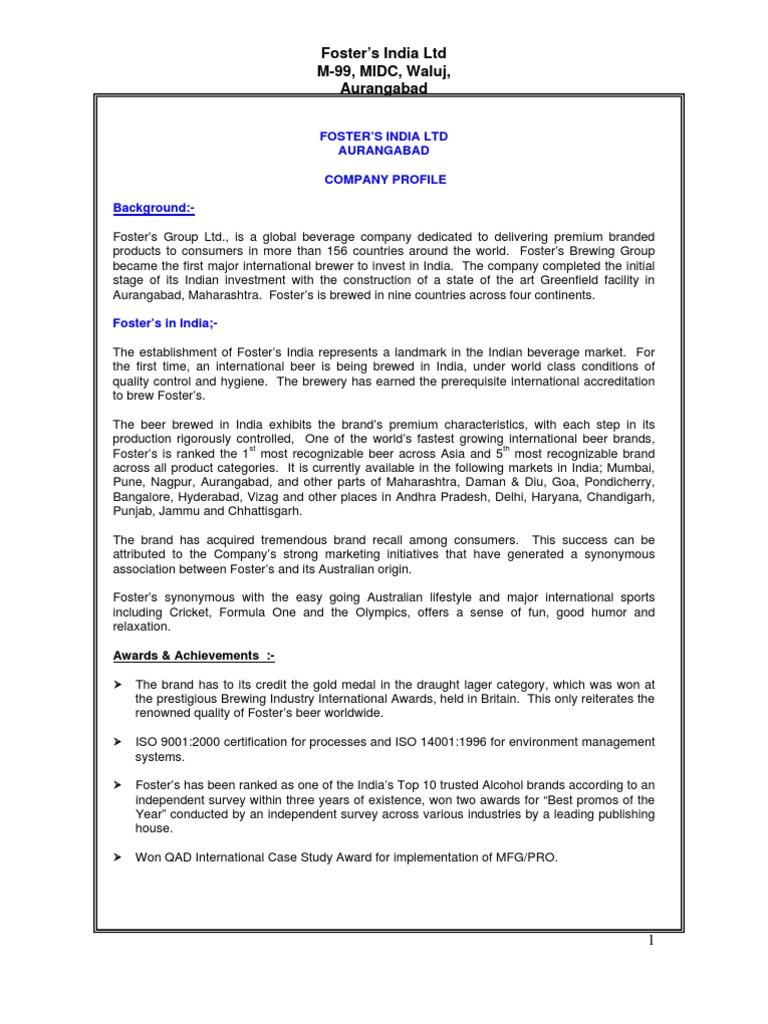 Fosters India Ltd Aurangabad | Boiler | Steam