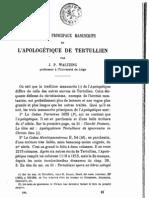 J. P. Waltzing,  Les trois principaux manuscrits de'l Apologetique de Tertullien