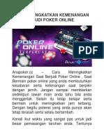 Cara Meningkatkan Kemenangan Saat Berjudi Poker Online