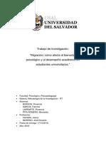 Migracion, como afecta al bienestar psicologico y al desempeño academico en universitarios migrantes