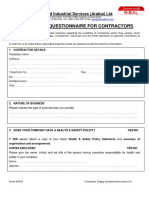 Contractor Questionnaire SF018 Issue 3