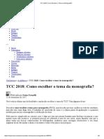 TCC 2018_ Como Escolher o Tema Da Monografia