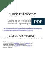 Diseño de Un Procedimiento Para Introducir La Gestión Por Proceso