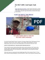 TERMURAH! 0812-9627-2689 | Jual Septic Tank Biotech di Bekasi