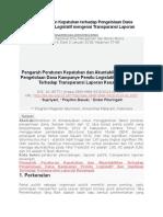 (TRANSLATE ARTIKEL )Pengaruh Peraturan Kepatuhan Terhadap Pengelolaan Dana Kampanye Pemilu Legislatif Mengenai Transparansi Laporan Keuangan