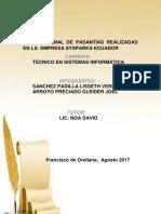 Informe Final de Pasantías Realizadas en La Empresa Sysparks Ecuador 12-09-2017