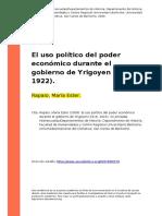 Rapalo 2009 El Uso Politico Del Poder Economico Durante El Gobierno de Yrigoyen (1916- 1922)