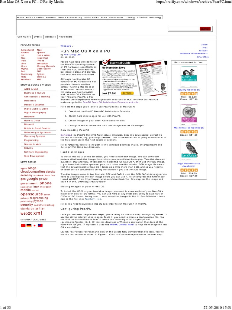Run Mac Os x on a Pc - o'Re   | Operating System | Mac Os X Leopard