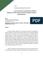 Comunicación Las Limitaciones de Los Acuerdos de Reciprocidad en Materia de Sufragio en Comicios Locales Suscritos Por España Con Países Latinoamericanos de Yolanda Vaccaro
