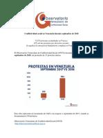 Conflictividad Social en Venezuela Septiembre 2018