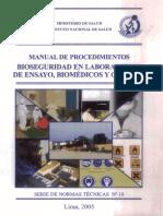 Manual de Procedimentos Bioseguridad en Laboratorios de Ensayo , Bomedicos y Clinicos INS 'MINSA