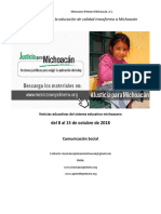 Síntesis Educativa Semanal de Michoacán al 15 de octubre de 2018