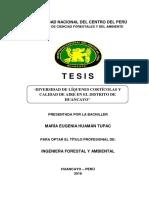 Tesis - Diversidad de Liquenes Corticolas y Calidad de Aire en El Ditrito de Huancayo