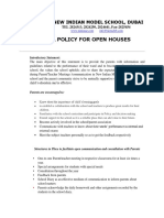 School Policy for Open Houses