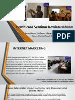 Pembicara Seminar Kewirausahaan / Fast Respon / 0812-3262-6994