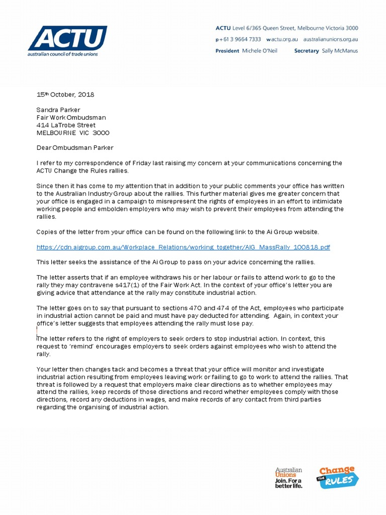 Letter to Ombudsman Parker, FWC | Employment | Public Sphere