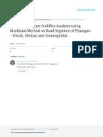 Geology and Slope Stability Analysis Using Markland Method on Road Segment of Piyungan – Patuk, Sleman and Gunungkidul Regencies, Yogyakarta Special Region, Indonesia