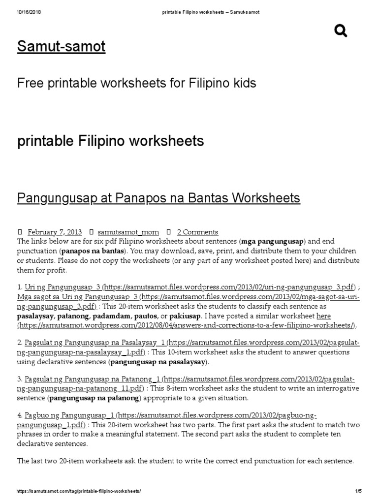 printable Filipino worksheets – Samut-samot.pdf | Adverb ...
