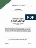CRFPA 2018 - Epreuve de Droit des obligations