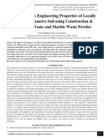 Improvement in Engineering Properties of Locally Available Expansive Soil using Construction & Demolition Waste and Marble Waste Powder