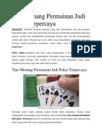 Tips Menang Permainan Judi Poker Terpercaya